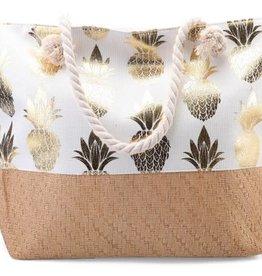 With love Beach bag - metallic pineapples  white 54 x 40 cm