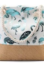 With love Beach bag - metallic flamingos  white - blue 54 x 40 cm