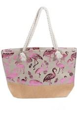 With love Beach bag - metallic flamingos  white - pink  54 x 40 cm