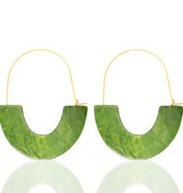 With love Earrings resin olive green - gold