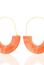 With love Earrings resin coral red - gold