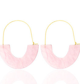 With love Earrings resin light pink - gold