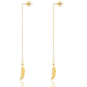 With love Earrings thread feathers gold