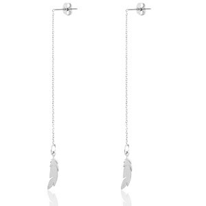 With love Earrings thread feathers silver