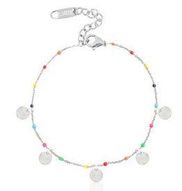 With love Bracelet coins rainbow silver