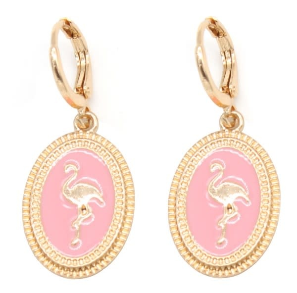 With love Metal earrings flamingo