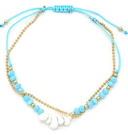 With love Anklet with beads - shells - chain blue