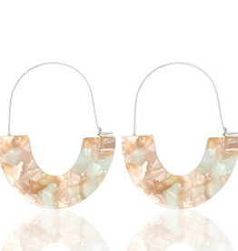With love Earrings resin beige - blue silver