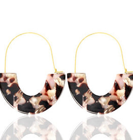 With love Earrings resin brown - pink gold
