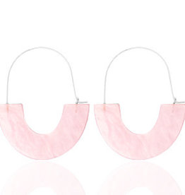 With love Earrings resin light pink - silver