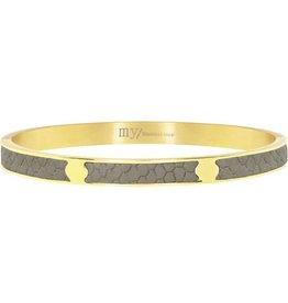 My Jewellery My Jewellery croco leather bangle grey - gold