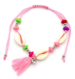 With love Anklet with shells and tassel pink