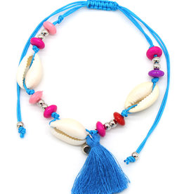 With love Anklet with shells and tassel blue