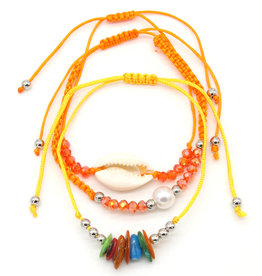 With love Bracelet set 3 pcs Shell orange - yellow