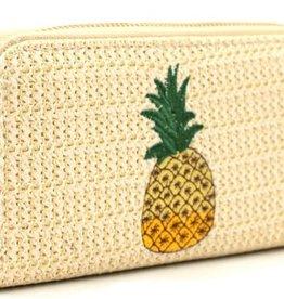 With love Woven wallet pineapple 19 x 10 cm beige
