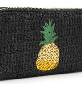 With love Woven wallet pineapple 19 x 10 cm black