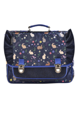 Caramel & cie Medium schoolbag blue rabbits 38 x 31x12 cm