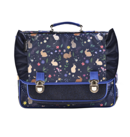 Caramel & cie Medium schoolbag blue rabbits 38 x 31x12 cm