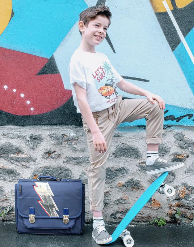 Caramel & cie Medium schoolbag lightning satchel 38 x 31x12 cm