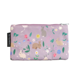 Caramel & cie Large pencil case purple rabbits 13 x 21 cm