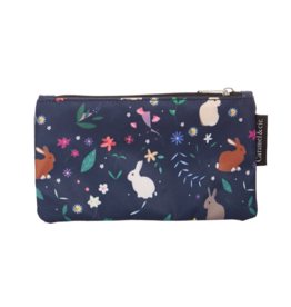 Caramel & cie Large pencil case blue rabbits 13 x 21 cm