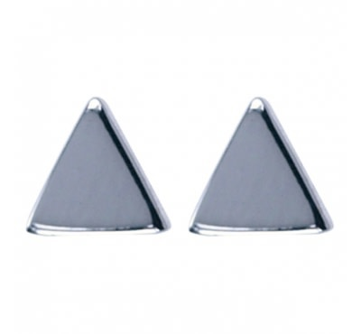 Treasure Silver stud earrings triangle 4x4