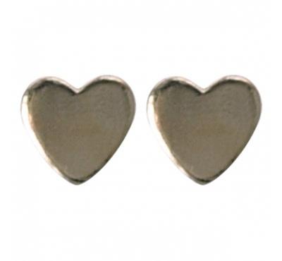 Treasure Silver stud earrings heart 3x3 mm gold plated