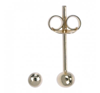 Treasure Silver stud earrings little ball 1.5 mm gold plated