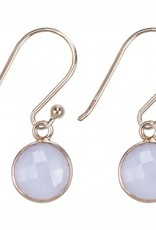 Treasure Silver earrings round 8 mm - gold plated - rosequartz