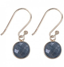 Treasure Silver earrings round 8 mm - gold plated - labradorite (grey)