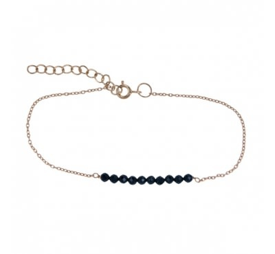 Treasure Silver bracelet 3 mm onyx 17 + 3.5 cm gold plated