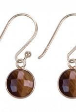 Treasure Silver earrings GP round 8mm tiger eye