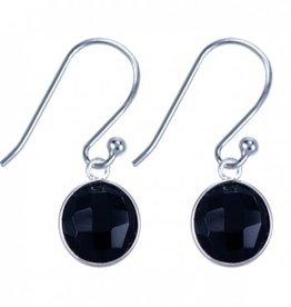 Treasure Silver earrings drop 9 x 13 mm onyx black