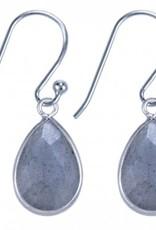 Treasure Silver earrings drop 9 x 13 mm labadorite (grey)
