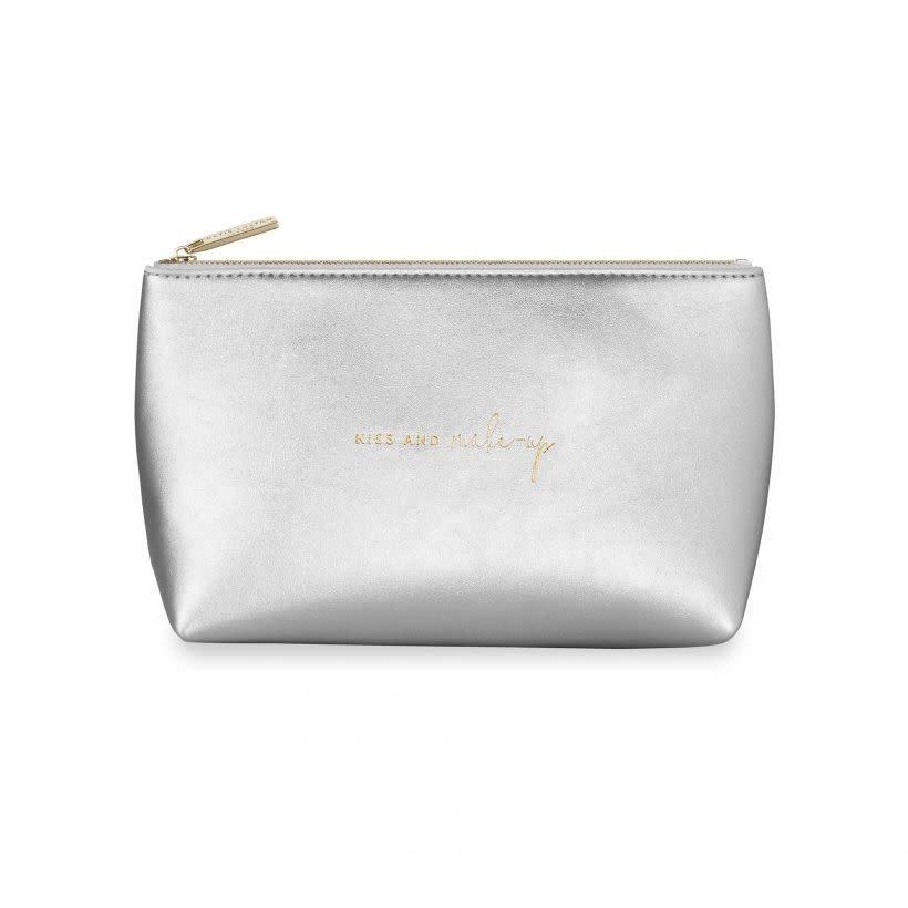 Katie Loxton Katie Loxton make up bag kiss and make up silver 22x11.5 cm
