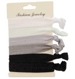 With love Hair elastics - glitters black, grey, white