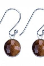 Treasure Silver earrings round 8mm tiger eye
