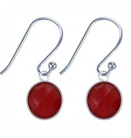 Treasure Silver earrings round 8 mm - red onyx