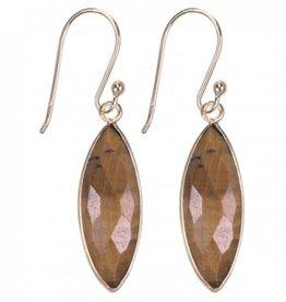 Treasure Silver earrings GP tear 7 x 21 mm tiger eye