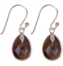 Treasure Silver earrings GP drop 9 x 13 mm tiger eye