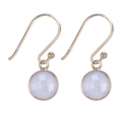 Treasure Silver earrings round 8 mm - gold plated - pink quartz