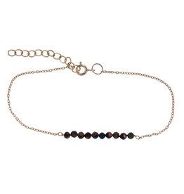 Treasure Silver bracelet 3 mm - gold plated tiger eye  39 + 5 cm