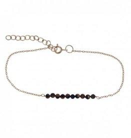 Treasure SIlver bracelet 3 mm tiger eye 17 + 3.5 cm gold plated