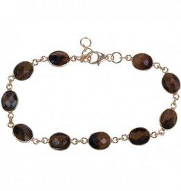 Treasure SIlver bracelet tiger eye oval 7 x 9 mm - gold plated