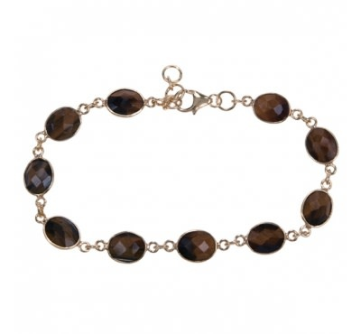 Treasure SIlver bracelet tiger eye oval 7 x 9 mm - gold plated