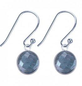 Treasure Silver earrings round 8 mm - labradorite (grey)