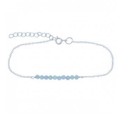 Treasure Silver necklace 3 mm aqua 39 + 5 cm