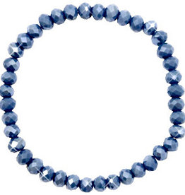 With love Top facet bracelet 6x4 mm crown blue