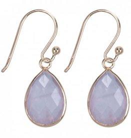 Treasure Silver earrings drop GP 9 x 13 mm rosequartz