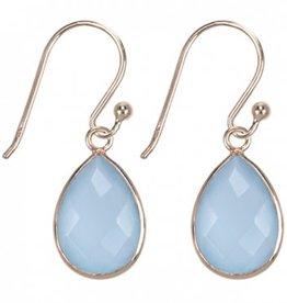 Treasure Silver earrings drop GP 9 x 13 mm aqua chalcedone